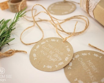 Christmas Tags: Set of 8 tags. Brown paper tags with white ink