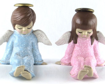 Sweet Angel Shelf Sitters Pair - Sparkly Pink and Baby Blue - White Wings - Golden Halos - Boy and Girl - Mid Century Vintage Home Decor