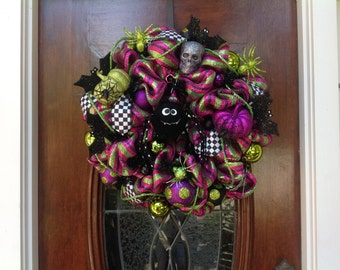 Whimsical Black Spider Wreath