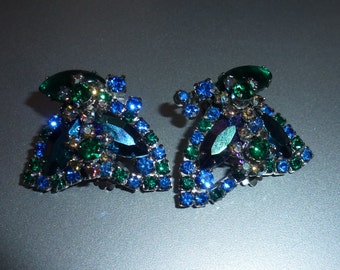 Beautiful Vintage Rhinestone Clip On Earrings with Lots of Color