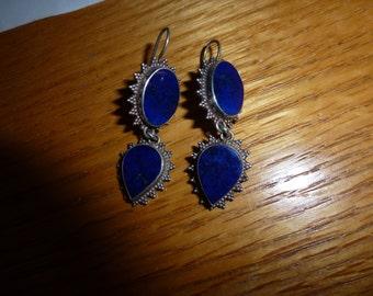 Vintage Lapis Lazuli 925 Silver Earrings  Lapis Lazuli Dangle Earrings   Pierced Earrings