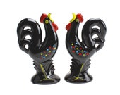 HOLD for TRACY---------------- Redware Shakers, Black Rooster Salt and Pepper, Swedish Folk Art Shakers, French Country Roosters, Epsteam