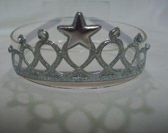 Silver Infant to Toddler Princess Crown Headband - Tiara Headband - Silver Headband - Glitter and Bling Headband - Elastic/Stretch Headband