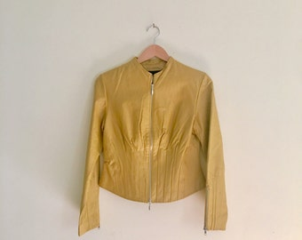 Vintage 90s Mustard Cropped Leather Jacket // Moto Bomber Jacket  // Sunflower Jacket