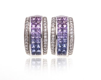 Multicolor Pink to Purple Sapphire & Diamond 18K Gold Earrings (2.83ct tw):  SKU 8514