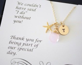 10 Bridesmaid Necklace Personalized Gold Starfish, Bridesmaid Gift, Beach Wedding, Gold, Gemstone, Initial jewelry, Thank you Card