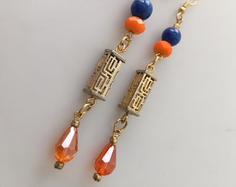 IBA Jewelry, ASIAN-INSPIRED, Handcrafted, Vintage Beads, Urban Geisha, Pierced Earrings, Dangle Earrings, Inspired by Amber