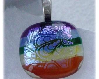 Dichroic Glass Pendant 034 Rainbow Handmade fused cabochon