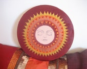 Hand painted large Sun face round art canvas.