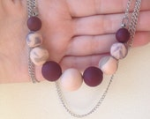 Clay Bead Chain Necklace-Cranberry, Gray, and Pink