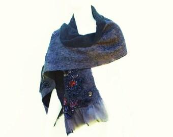 Grey Black Velvet Silk Wool Winter Wrap