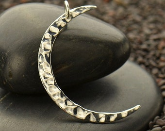 Large Sterling Silver Hammered Crescent Moon Charm