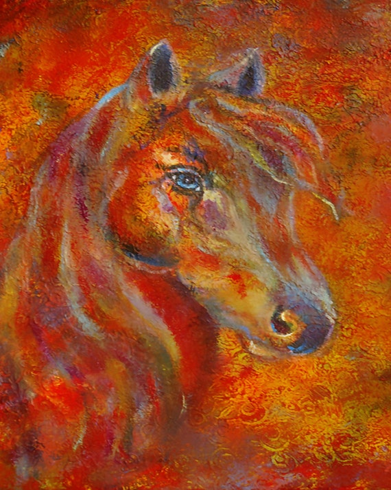 8 x 10 Fine Art Horse Print,-Fire-Passion-Horse Lover-Equestrian-Equine-Red-Home Decor_ Girl's Room Decor- Inspirational Art-Flaming Fire
