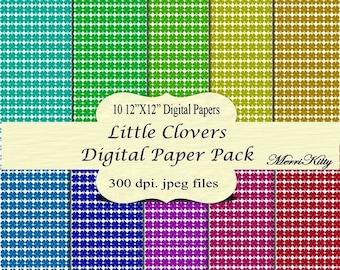 "ON SALE 65% OFF Instant Download - Digital Scrapbook Paper Pack - Little Clovers - No.20 - 10 12""x12"" Digital Papers - Card Making"