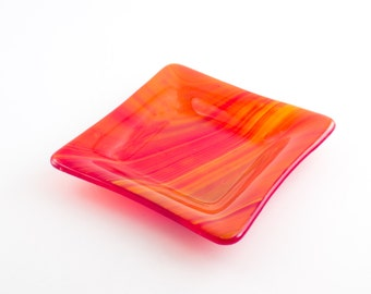 Orange Glass Bowl, Fused Glass Dish, Dresser Caddy, Trinket Tray, Candy Dish, Unique Home Decor, One of a Kind, Handmade Gifts