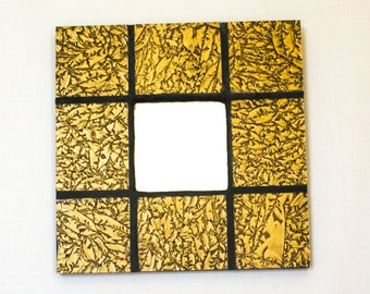 Gold Wall Mirror, Stained Glass, Mosaic Art, Gold Home Decor, Unique Wall Mirror, Decorative Accents, New Home Housewarming Gift