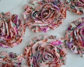 Pink Floral Shabby Chiffon Flower Trim - Your choice of 1 yard or 1/2 yard -  Chiffon Rose Trim, DIY headband supplies,