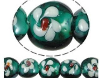 6pcs 15x10mm flat round lampwork glass beads-6091