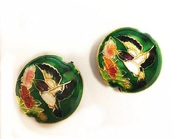 2pc 19x7.5 flat round handmade bird Cloisonne Beads-8568A