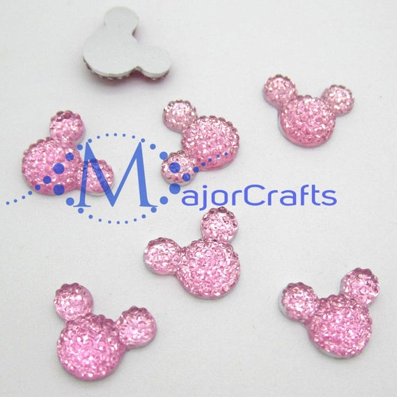 40pcs Light Pink 14mm Flat Back Mouse Head Resin Rhinestones Gems - DIY Craft Embellishments by MajorCrafts