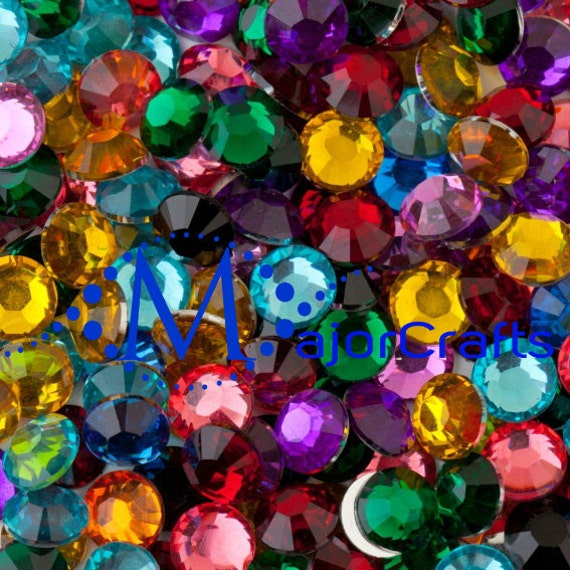 Mixed Colours Flat Back Round Resin Rhinestones Embellishment Gems C55