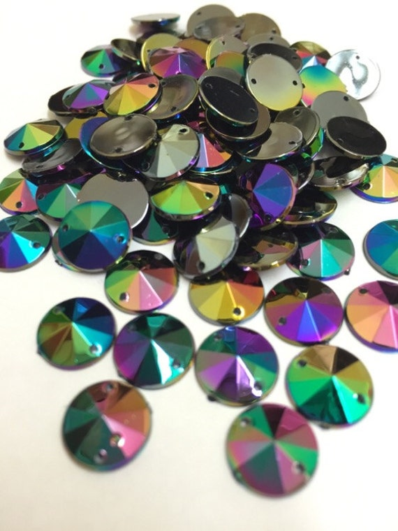 Black AB Round Flat Back Pointed Sew On Rivoli Acrylic Rhinestones Embellishment Gems C6