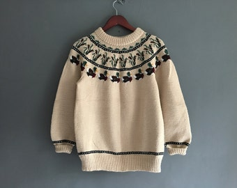 Nordic Style Sweater with Ducks and Mallards