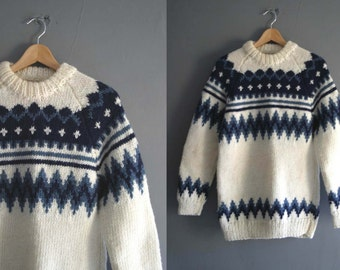 Hand Knitted Wool Blend Nordic Style Jumper
