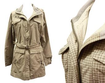 Womens Trench Raincoat, Beige Green Plaid Envy Jacket, Belted Lightweight Overcoat, Waterproof Windproof, Hooded Coat, Outerwear Size M