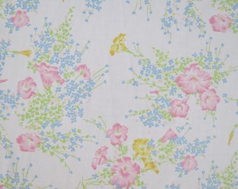 Vintage Sheet - Soft Pink Floral with Blue Trim - Full or Double Flat Sheet