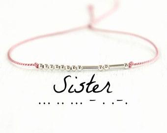 Sister Morse Code Bracelet Minimalist Best Friend Jewelry Friendship Sterling Silver Silk Cord Bracelet Gift for Sisters