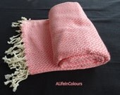 Turkish pink colour diamond patterned natural soft cotton bath towel, beach towel, spa towel, travel towel, pool towel.