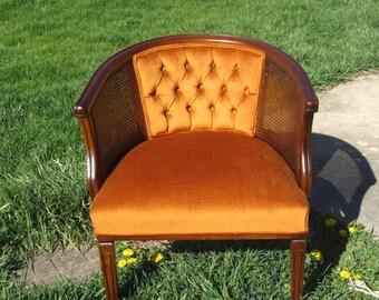 Vintage Barrel Chair Beautiful Orange Velvet and Cherry Finish
