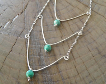 "Necklace... ""Moon Light"" turquoise sterling silver necklace"