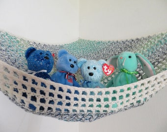 Crochet toy net hammock in ivory cream with blue, teal and green, stuffed animal storage for kids MADE TO ORDER