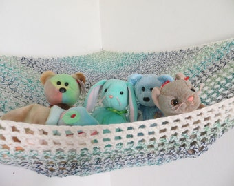 Large crochet toy net hammock in ivory cream with blue, teal and green, stuffed animal storage for kids MADE TO ORDER