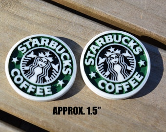 """STARBUCKS CABOCHONS RESINS-measures approximately 1.5"""""""