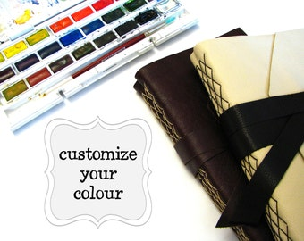 Customized Leather Watercolor Journal - Choose your Leather & Thread colours
