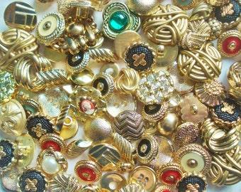 Midas Touch Gold Button Grab Bag - 45 Plastic Gold Buttons - Gold Button Assortment