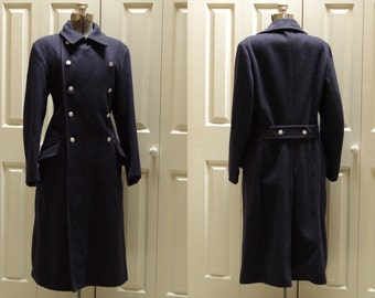 Vintage West German Navy Blue Double Breasted Wool Trench Coat Size G48-0