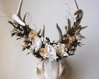 Deer Skull with Preserved Floral Crown - Champagne and Cream