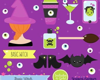 INSTANT DOWNLOAD - Witch Clipart or Halloween Vectors for personal and commercial use