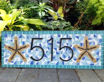 Address Plaque for Beach House // Mosaic House Number Sign // Starfish // Blue and Aqua