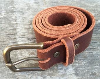 Leather belt, 1.25 inches wide, Brown full grain leather, Solid brass buckle, Men's belt, Women's belt, Custom belt, The Willamette belt