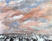 Pacific Swells Cherry Blossom Sky Lg.  - Original Acrylic Painting