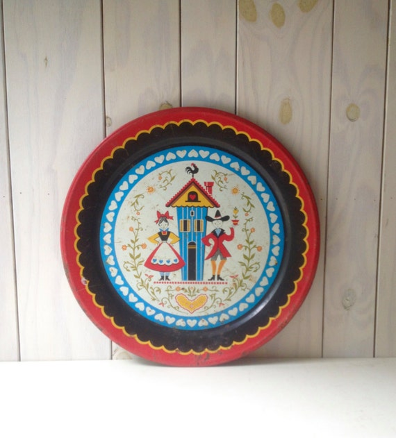 Metal folk art plate tin art deco plate folk art red blue for Plaque metal deco pour mur