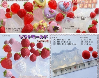 SALE Strawberry / rasberry 3d mold for resin and clay (Flexible, 3 different measurement)