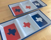 Set of Two Texas Serving Trays - Patriotic Red, White and Blue Themed - Snack Cheese Nut Chips Dip Tray