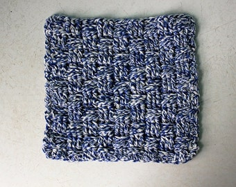 Blue and White Crocheted Wash Cloths