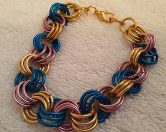 Pink Blue And Gold Chainmaille Bracelet